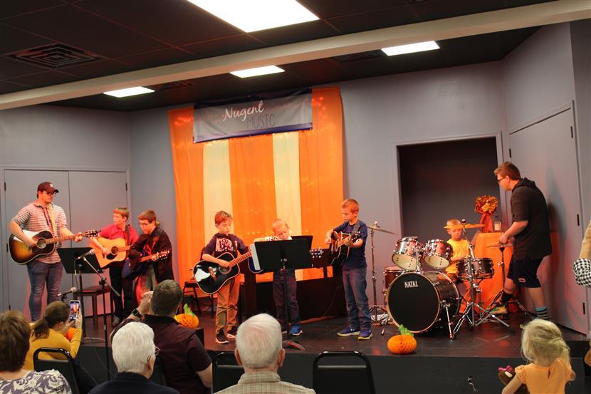 Group guitar performing